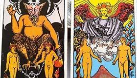 韦特塔罗牌中恋人与恶魔的相似点